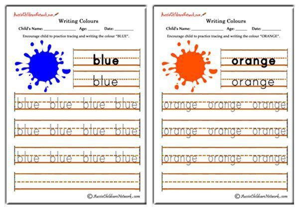 Colour Words Worksheets Writing Color Names Tracing Color Words