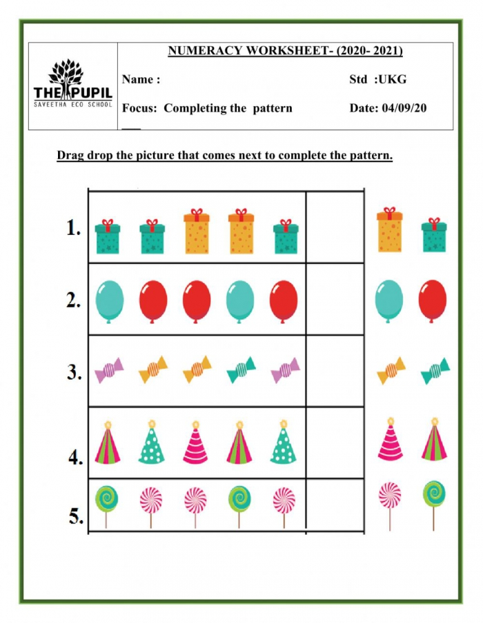 Completing The Pattern Worksheet