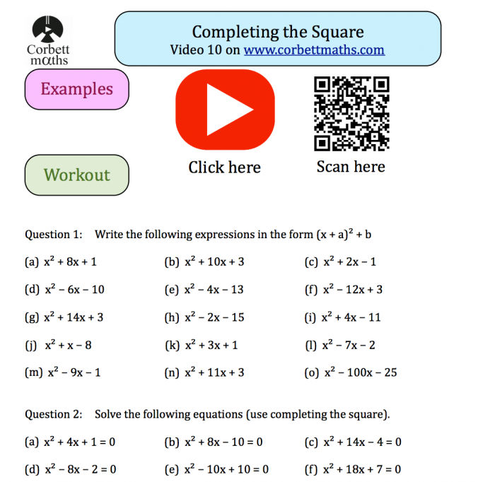 Completing The Square Textbook Exercise Corbettmaths