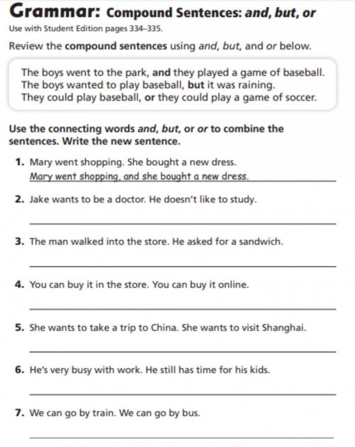 Compound Sentences Worksheet