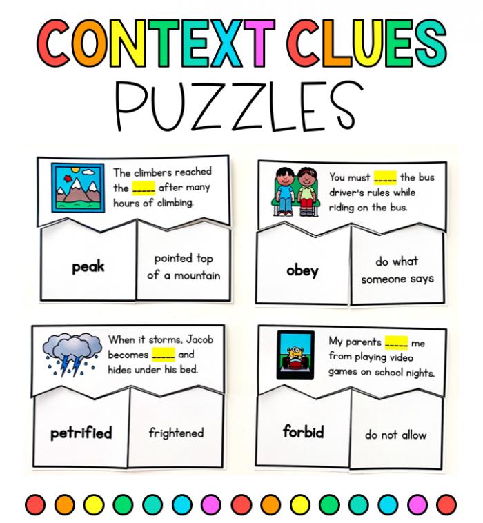 Context Clues Puzzles Unfamiliar Words