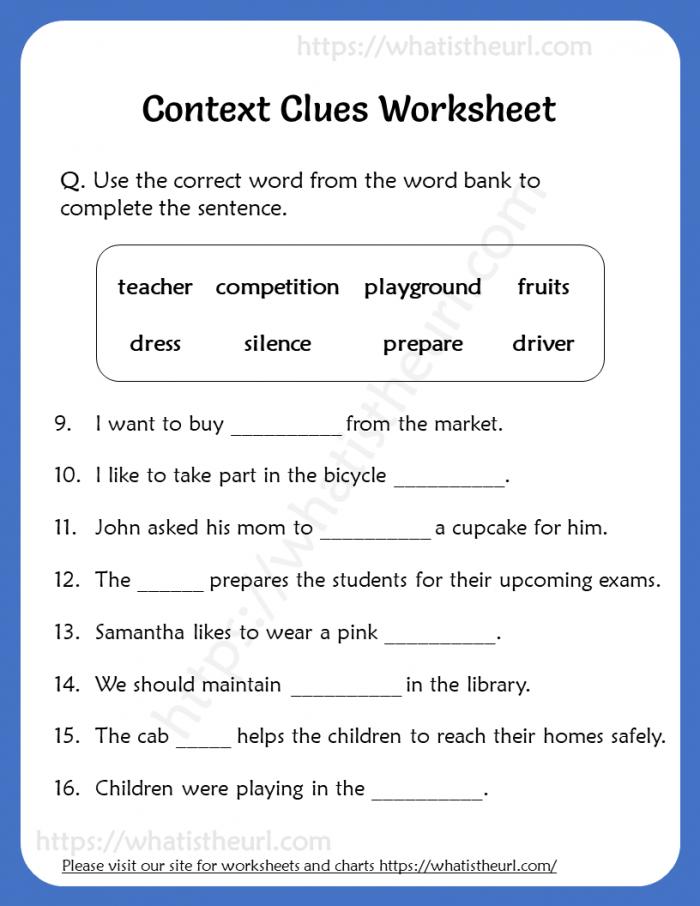 Context Clues Worksheet For Grade