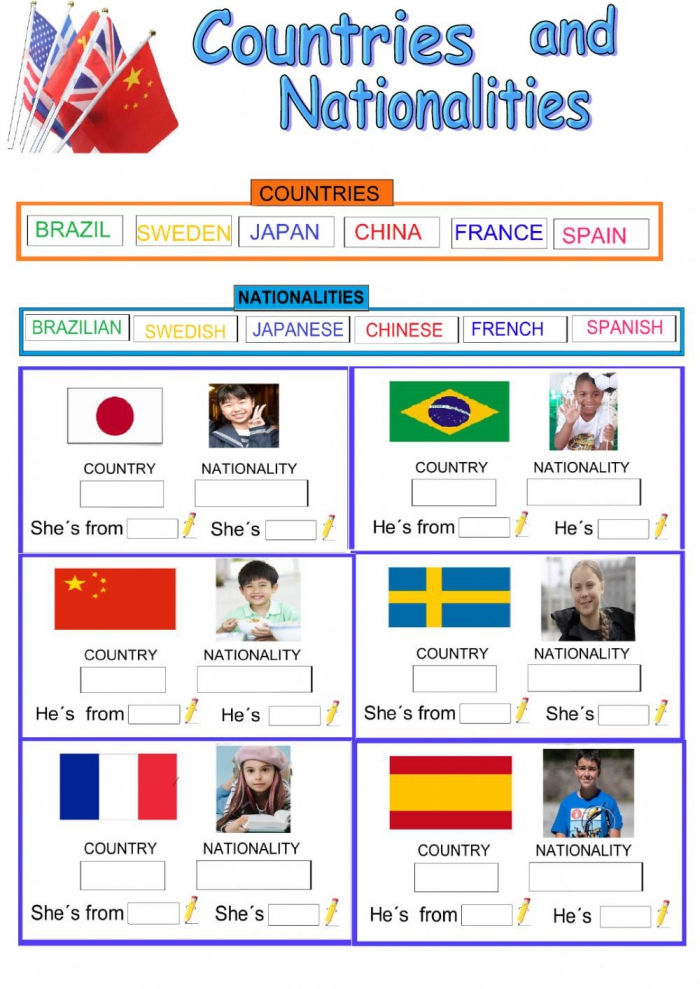 Countries Nationalities And Flags Interactive Worksheet