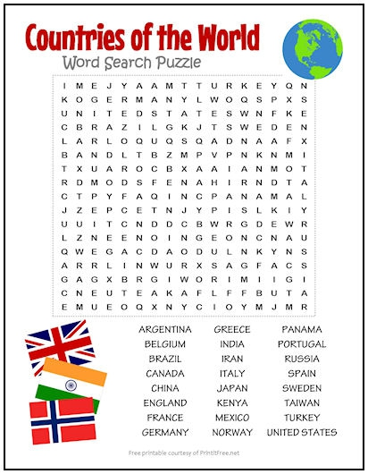 Countries Of The World Word Search Puzzle