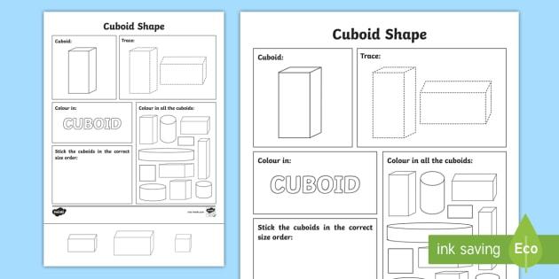 Cuboid Shape Worksheet