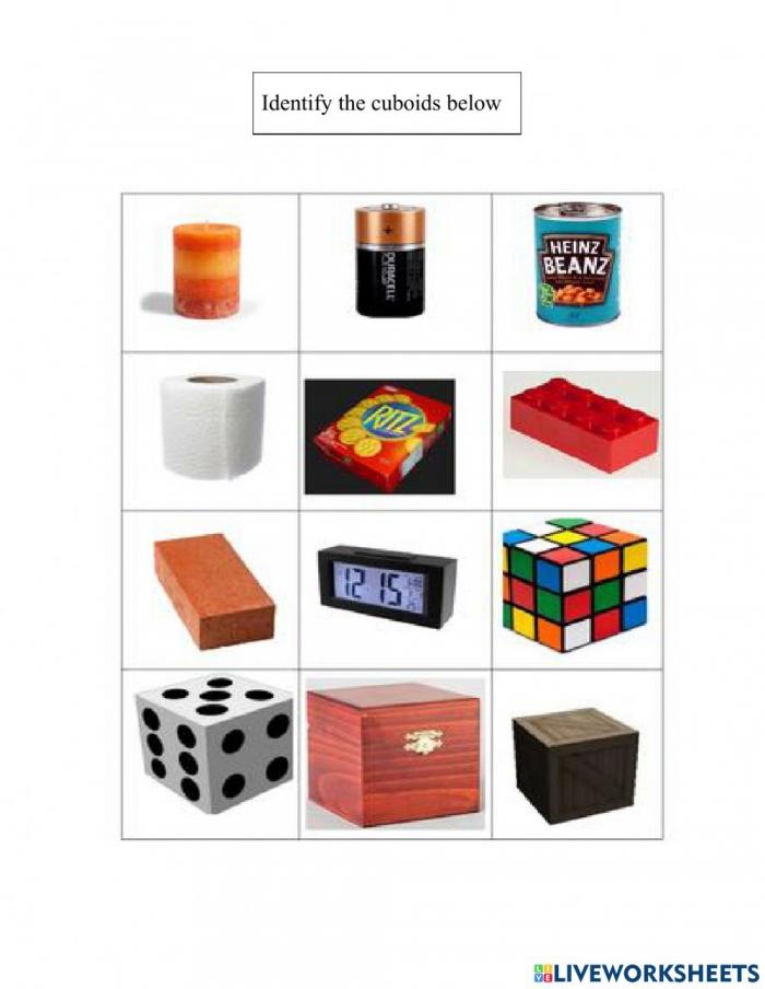 Cuboids Worksheet
