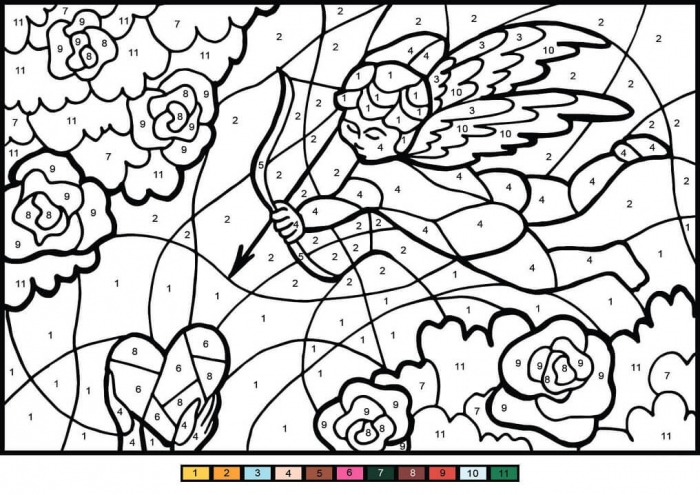 Cupid Angel Color By Number Coloring Page