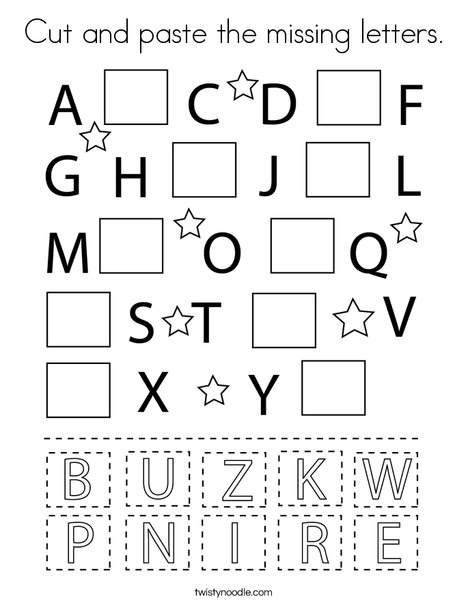 Cut And Paste Missing Letters Worksheets