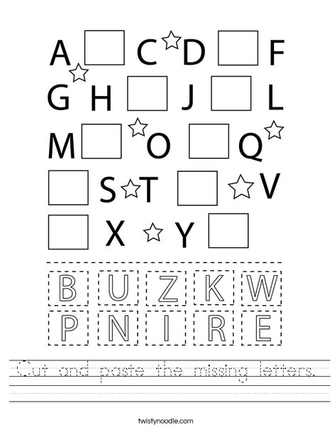 Cut And Paste The Missing Letters Worksheet