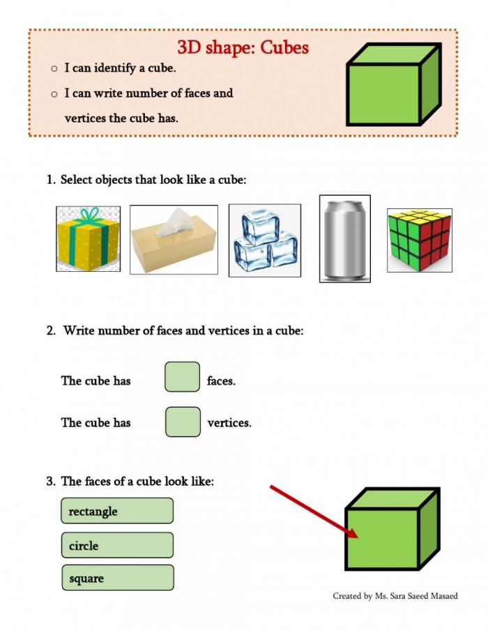 D Shapes Cube Worksheet