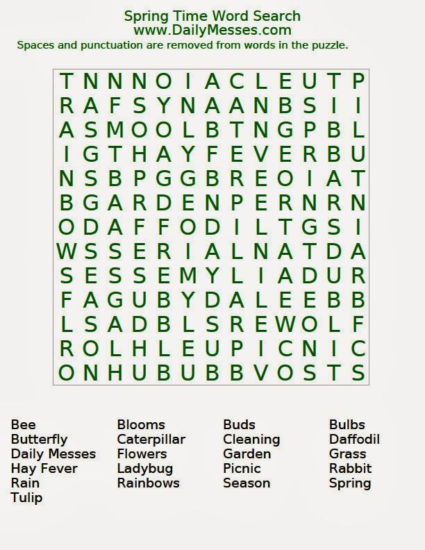 Daily Messes Spring Time Word Search