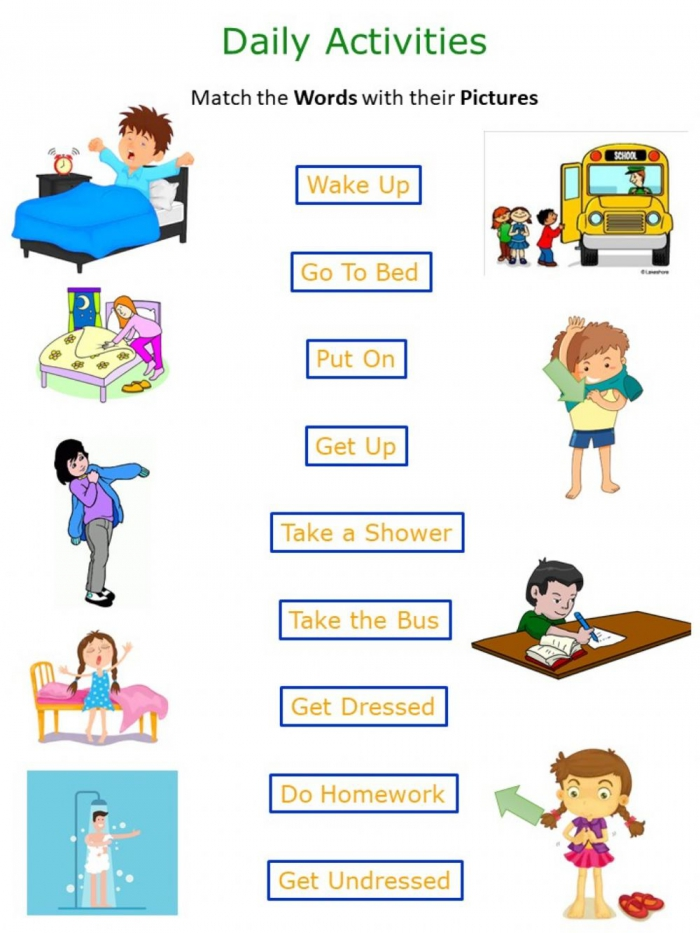 Daily Routines Worksheet For Grade