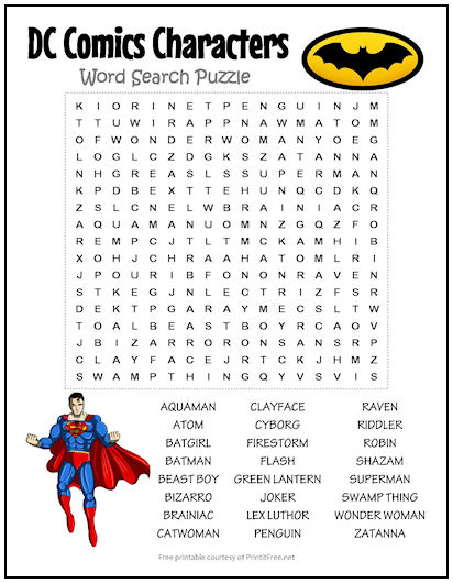 Dc Comics Characters Word Search Puzzle