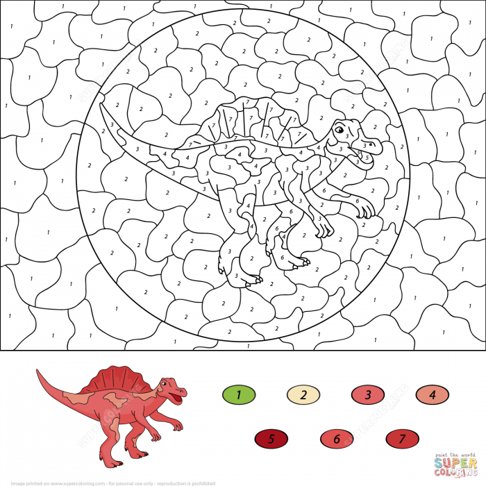 Dinosaurs Color By Number Coloring Pages