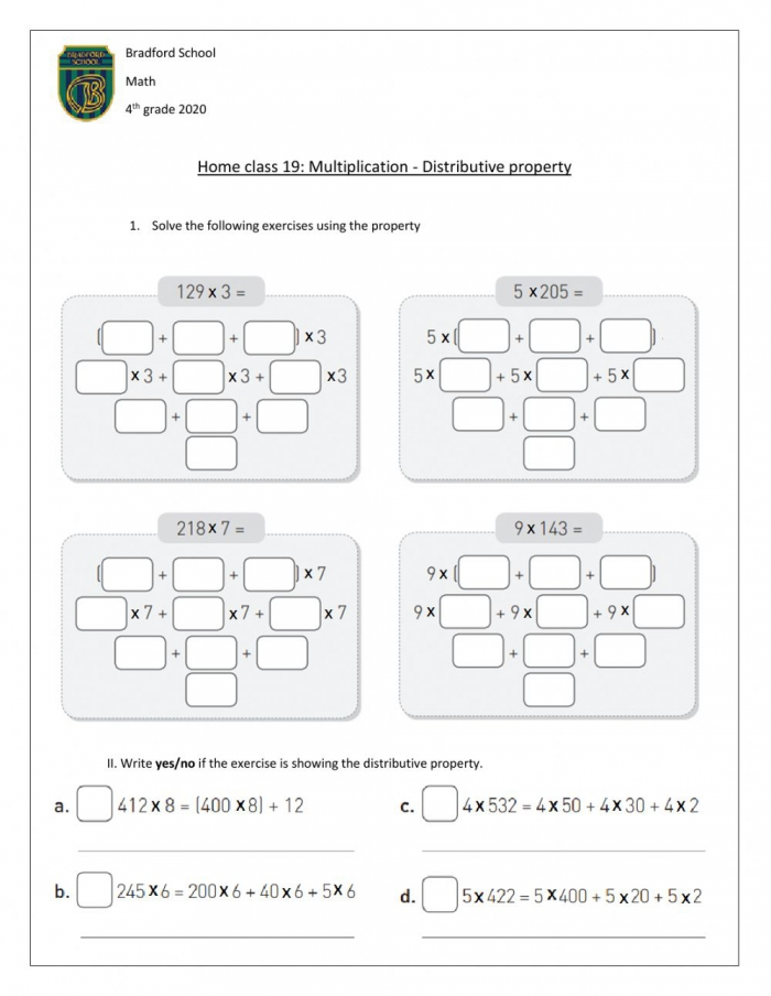 Distributive Property Interactive Worksheet