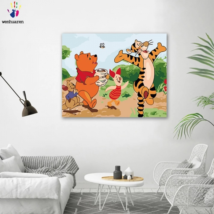 Diy Colorings Pictures By Numbers With Colors Winnie The Pooh And