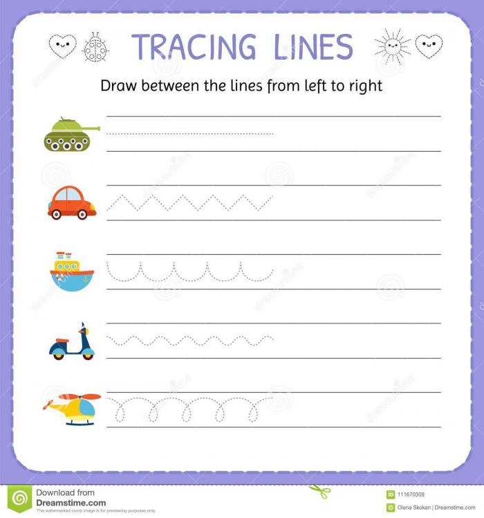 Draw Between The Lines From Left To Right Preschool Kindergarten