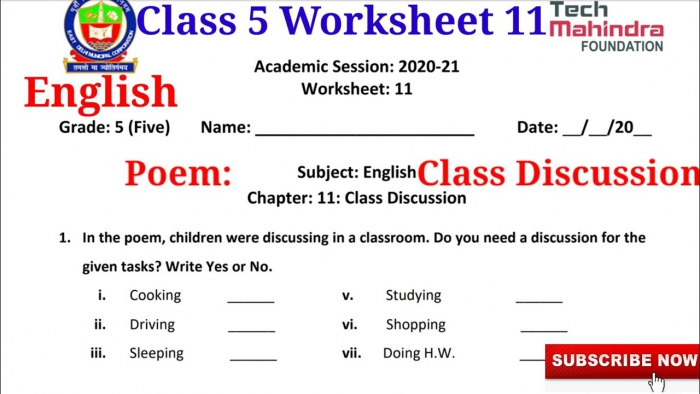 Edmc Class English Worksheet Topic Class Discussion