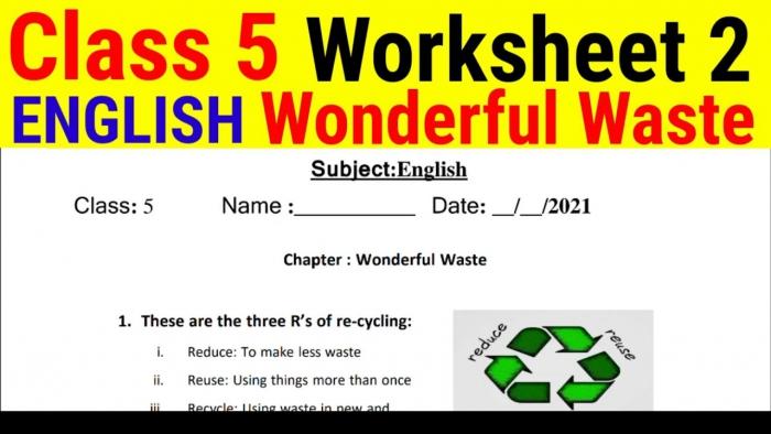 Edmc Class English Worksheet Number Chapter Wonderful Waste