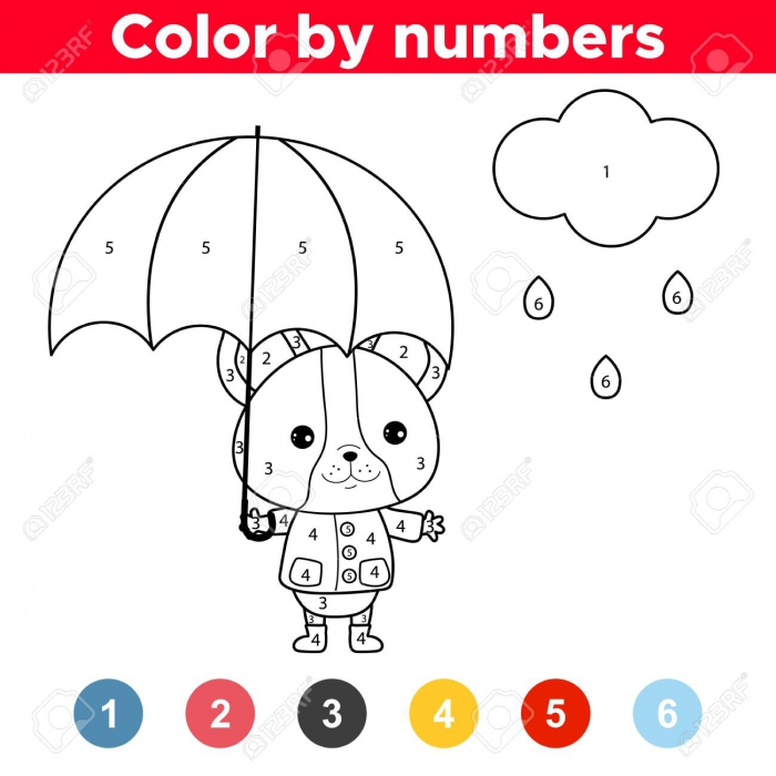 Educational Game Color By Numbers Cute Kawaii French Bulldog