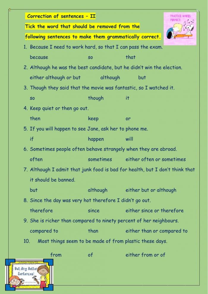 English Grammar Worksheet For Grade