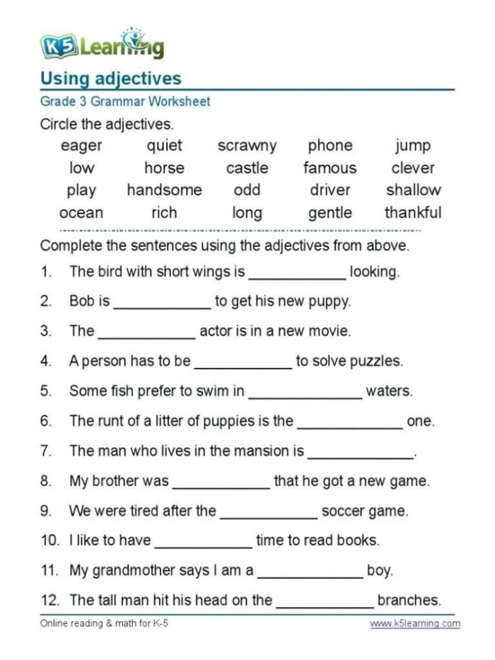 English Grammar Worksheets For Grade With Answers Pdf