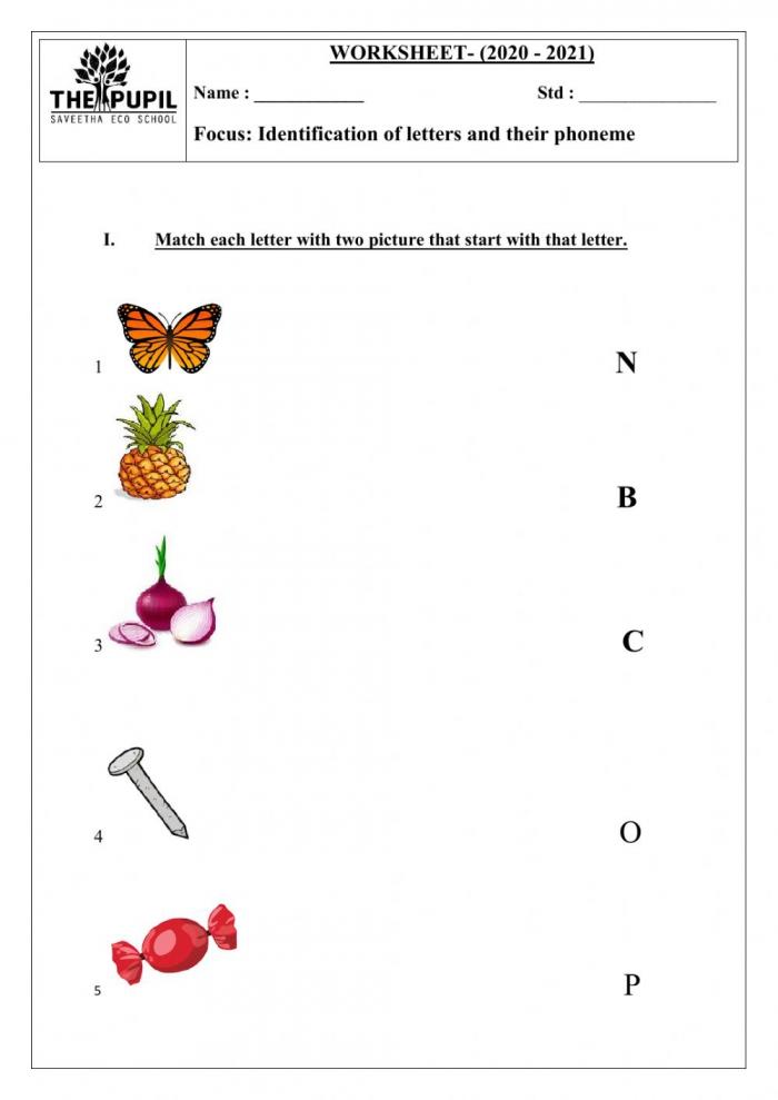 English Worksheet Exercise For Ukg