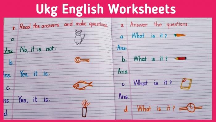 English Worksheets For Ukg