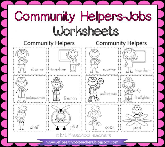 Eslefl Preschool Teachers Esl Community Helpers Worksheets