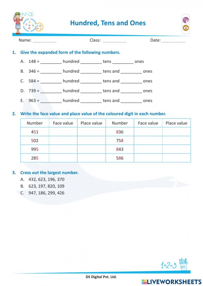 Face Value And Place Value Worksheet