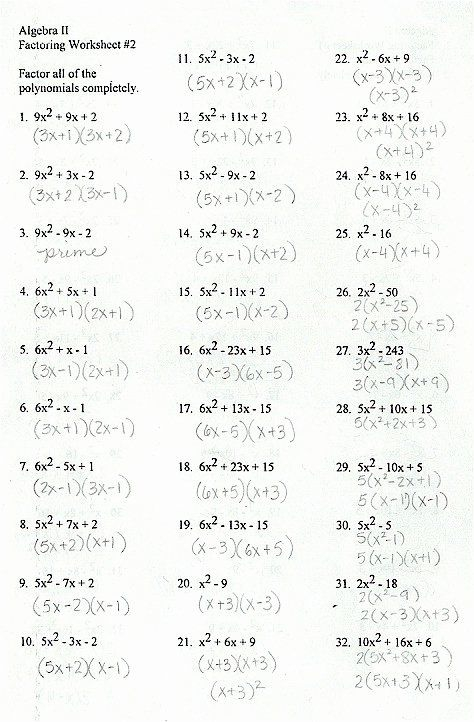 Factoring Trinomials Worksheet Answers Awesome Best Of