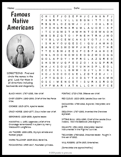 Famous Native Americans Word Search