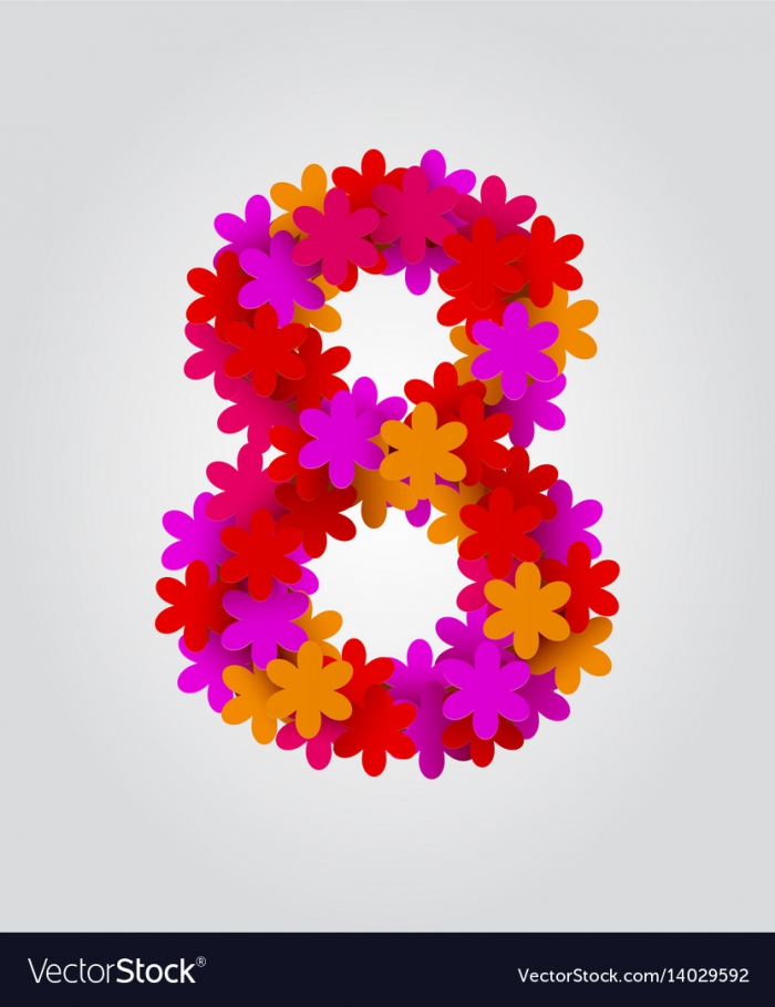 Floral Numbers Colorful Flowers Number Vector Image