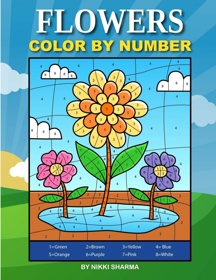Flowers Color By Number Coloring Book For Kids Ages