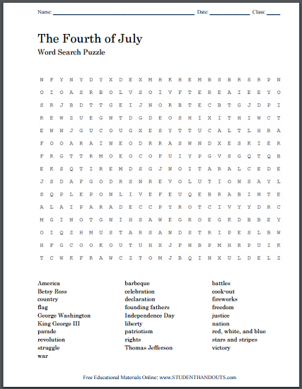 Fourth Of July Word Search Puzzle