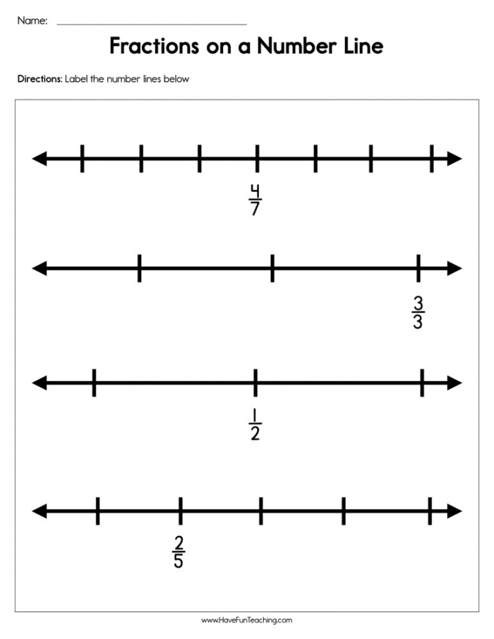 Fractions On A Number Line Worksheet Have Fun Teaching