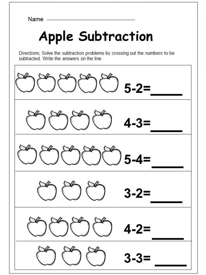 Free Apple Subtraction Worksheet