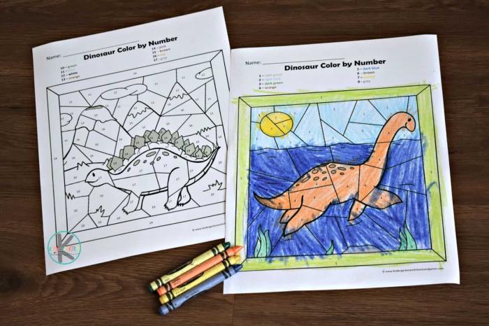 Free Dinosaur Color By Number Printable Worksheets