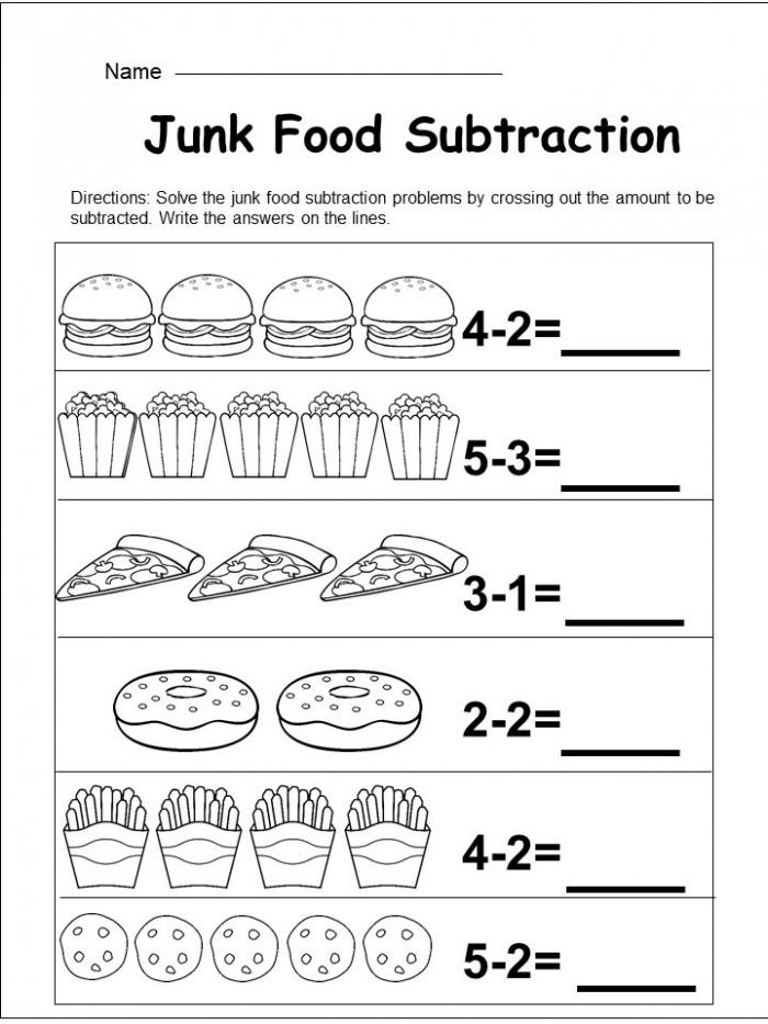 Free Kindergarten Subtraction Worksheet