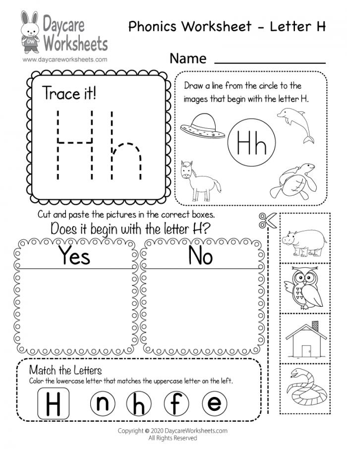 Free Letter H Phonics Worksheet For Preschool