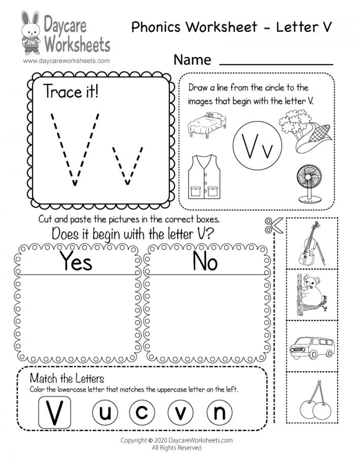 Free Letter V Phonics Worksheet For Preschool