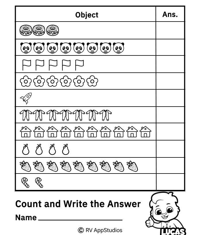 Free Printable Number Counting Worksheets