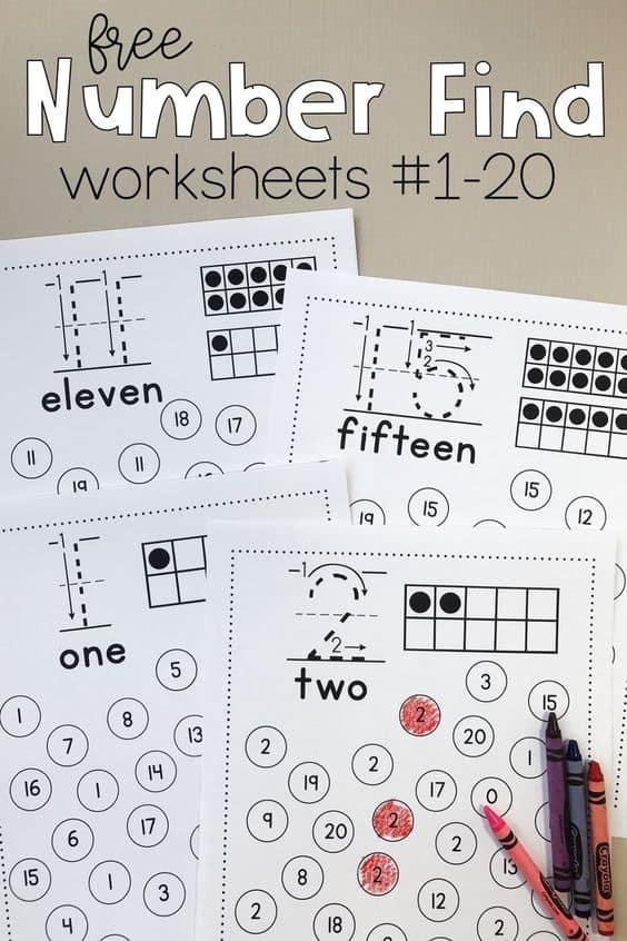Free Printable Number Find Worksheets