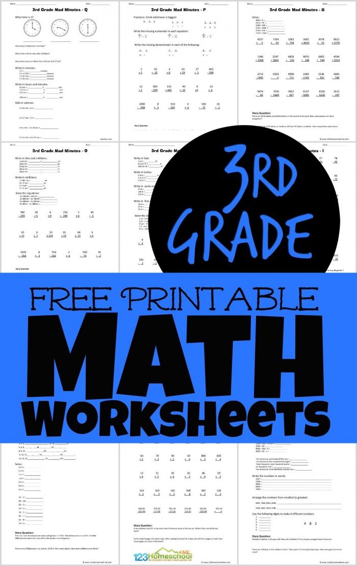 Free Printable Rd Grade Math Minutes Worksheets Pdf