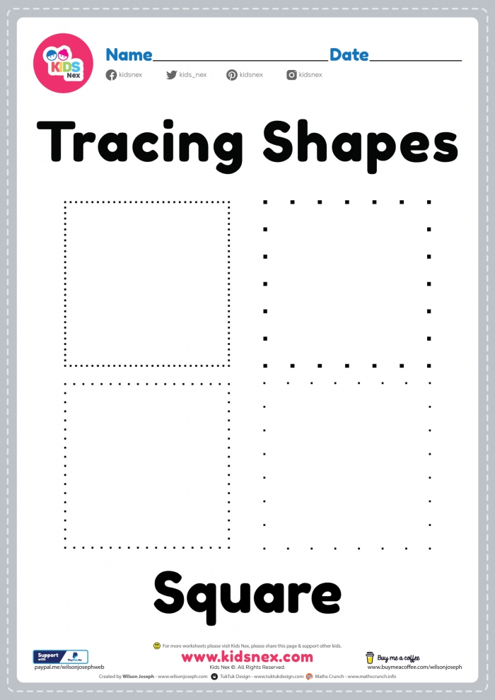 Free Printable Worksheet For Tracing Square Shapes For Kids