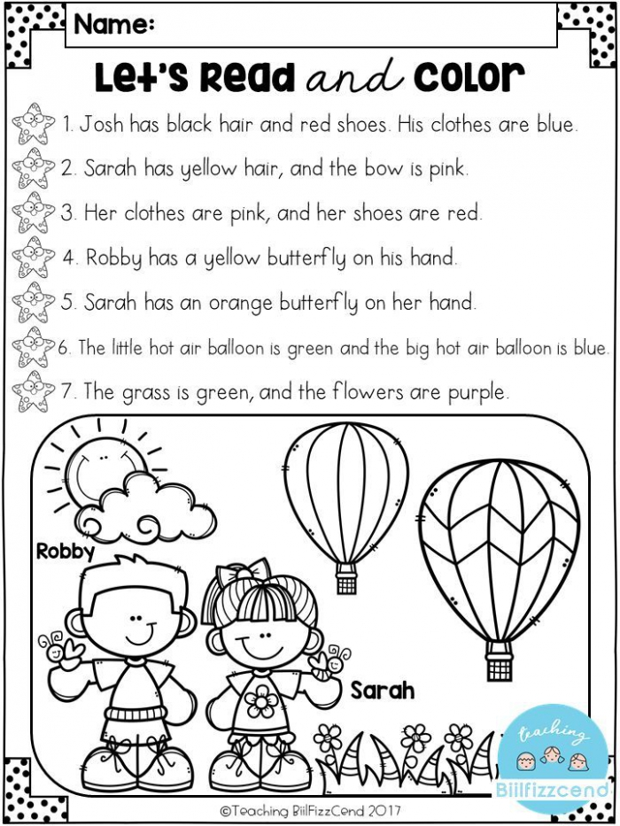 Free Read And Color Listening Comprehension These Are Super Duper