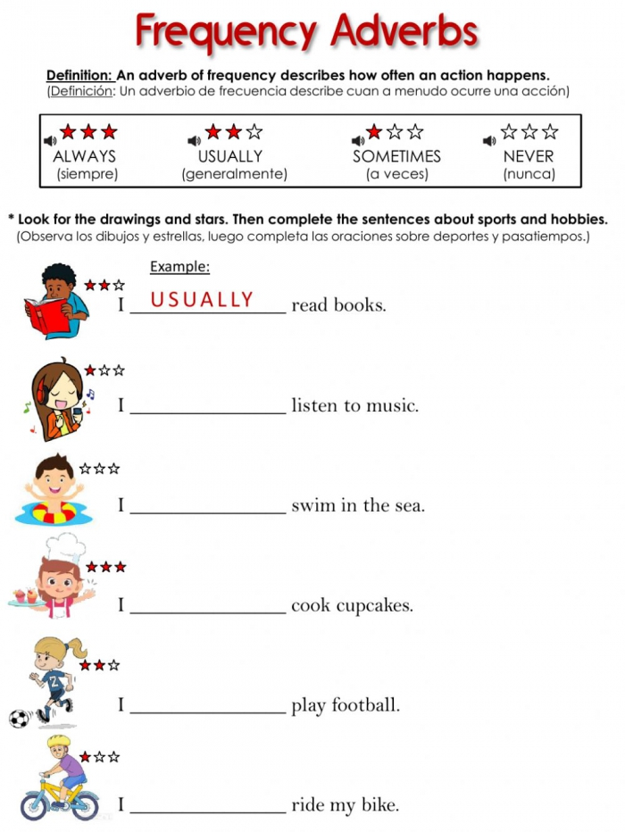 Frequency Adverbs Online Pdf Worksheet