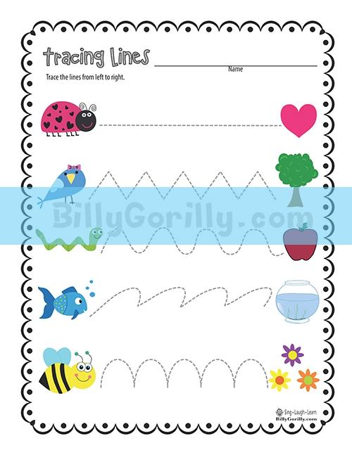Friday Freebie Tracing Lines Worksheet Printable