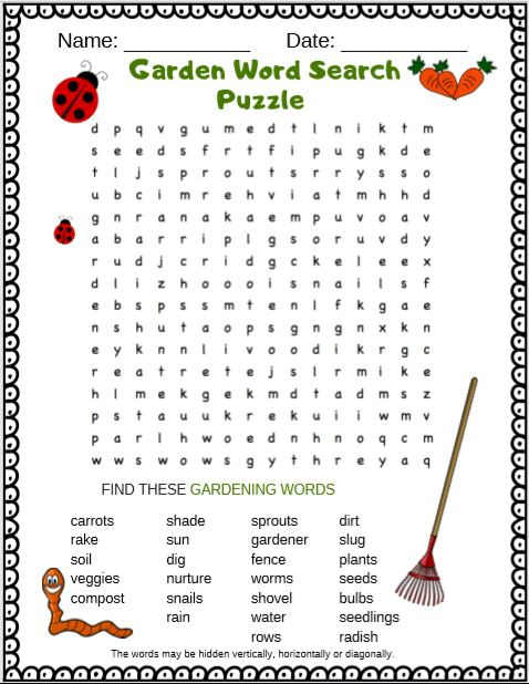 Garden Word Search Puzzle Free Printable