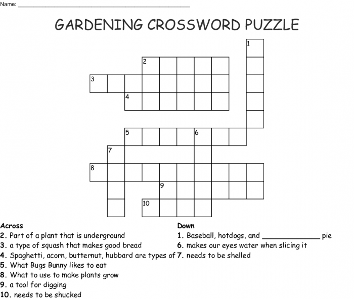Gardening Crossword Puzzle